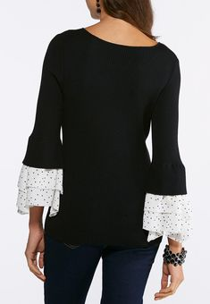 dc9b060c7c6cc Plus Size Ruffles And Dots Ribbed Sweater Pullovers Cato Fashions Ribbed  Sweater