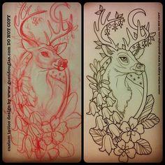 deer tattoo by Guen Douglas Stag Tattoo, Tatto Ink, Tatoo Art, Raven Tattoo, Arm Tattoo, Tatouage Artemis, Tattoo Sketches, Tattoo Drawings, Hirsch Tattoo