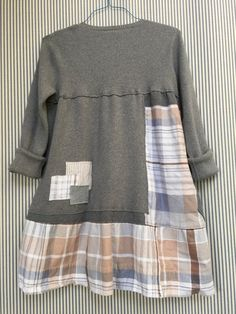 Upcycled Patchwork Boho Chic Dusty Gray Plaid by SimplyCathrineAnn