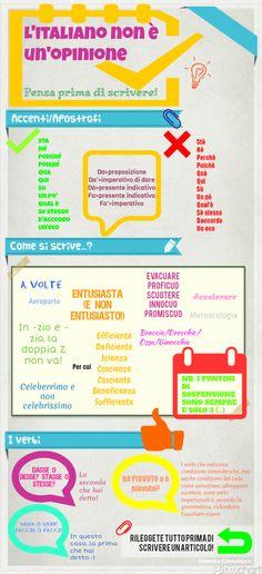 Infografica: L'italiano non è un'opinione. Consigli veloci per scrivere meglio e farsi capire velocemente.