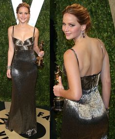 2013 was a major year for Jennifer Lawrence. Aside from winning her first Oscar trophy, she also won big in the style department. The American actress First Lady Of America, Jennifer Lawrence Style, Dresser, Red Carpet Dresses, Celebrity Dresses, Hollywood Stars, Hollywood Actresses, Glamour, Oscars