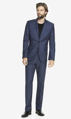 NAVY MICRO TWILL PHOTOGRAPHER SUIT  from EXPRESS