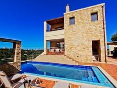Villa with private pool on an exceptional location, sea view, near to the beachHoliday Rental in Stalos from Villa With Private Pool, Crete, Home And Away, Sea, Explore, Mansions, House Styles, Holiday, Travel