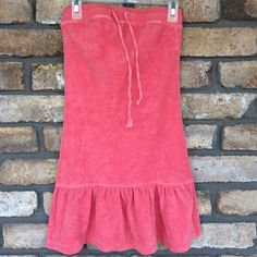 SPRING SALE  Coral Terry Dress / Cover Up Cute as can be!! Terry Cloth Material ( 80% cotton & 20% polyester) cover up. Has the draw string for a secure fit and a flirty ruffle at the bottom! It's a size Small - fitting a size 0-2 Cocoa Dresses