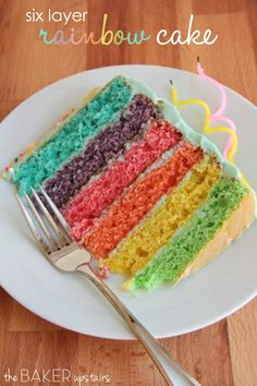 Six layer rainbow cake ~ This gorgeous cake is as delicious as it is beautiful!
