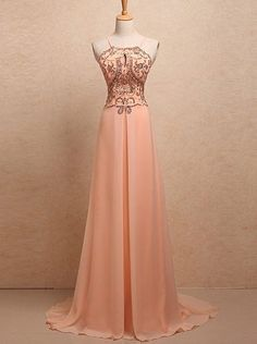 pink prom dress,long Prom Dress,chiffon prom dress,cheap evening dress,beaded prom dress,BD2717