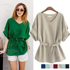 Linen-Blend Loose-Cut Casual Short Sleeve Top with Belt