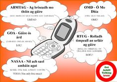 TXT abbreviations as Gaeilge Text Abbreviations, Gaelic Words, Irish Language, Language Conversion, Teaching Resources, Fitness Foods, How To Apply, Posters, Lol