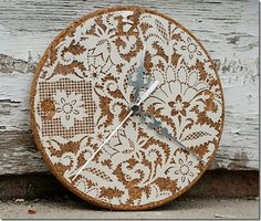 DIY:: Beautiful Lace Clock ! So easy to make lace overlay is simply  modpodged on cork ! Love this Idea !