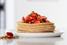 Crepes with Strawberry, Pistachio and Pomegranate Molasses made with Marcel's Double Love Sweet Crepes Breakfast Recipes, Dinner Recipes, Dessert Recipes, Desserts, Belgian Food, Pomegranate Molasses, Crepe Recipes, Perfect Breakfast, Pistachio