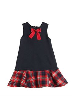 DOLCE & GABBANA - MILANO JERSEY & PLAID WOOL FLANNEL DRESS - DRESSES - NAVY/RED - LUISAVIAROMA