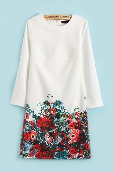 Three Quarter Sleeves Shift Floral Dress