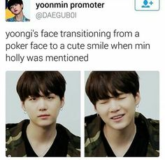 yoongi's face transitining from a poker face to a cute smile when min holly was mentioned