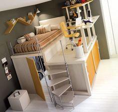 Dormitorio con escritorio en altura.