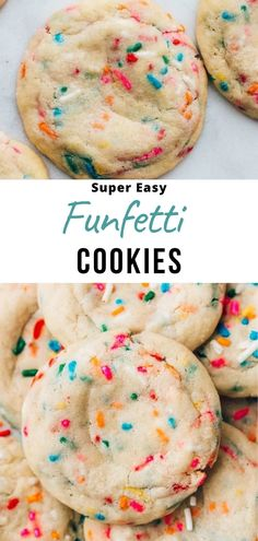 This is my favorite recipe for funfetti cookies. They are super soft and chewy sugar cookies dotted with sprinkles, and they have an amazing buttery vanilla flavor. So simple to make using pantry ingredients and kids can help baking these! Easy Desserts For Kids, Cookie Recipes For Kids, Kid Desserts, Easy Meals For Kids, Easy Baking Recipes, Desserts To Make, Delicious Desserts, Cookies For Kids, Simple Cookie Recipes