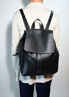 Black Leather Backpack Soft Leather Backpack Travel Leather Backpack Leather Travel Back Pack Everyday Back Pack Zaino di Pelle di EdoCollection su Etsy
