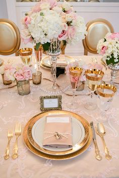 Glam Gold Place Setting | Gladys Jem Photography and Charmed Events Group | A Charming Blush Valentines Day Elopement