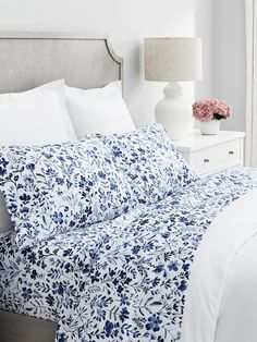 Classic Hemmed Sheets bestselling, most comfortable bed sheets. The signature weave is simple, but never ordinary. Long-staple, organic cotton is spun cloud-weight and super soft--literally the stuff dreams are made of. Master Bedroom Interior, Blue Bedroom, Home Interior, Bedroom Decor, Bedroom Ideas, Bedroom Stuff, Pretty Bedroom, Cozy Bedroom, Master Bedrooms