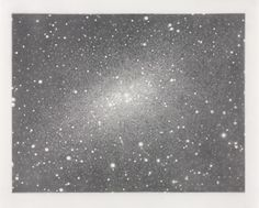 "Vija Celmins. Galaxy (Cassiopeia). 1973. BMA ""I think that Vija Celmins is one of the great living artists of my time and someone whose work I deeply admire. I encountered a large retrospective of her work in Cologne, Germany, quite by accident, and feel really lucky to have seen it. There were galaxy drawings, videos, prints of waves, three dimensional ""rocks"", images of static, and more."""