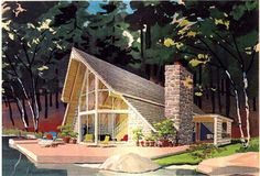 A-Frame Cabin Contemporary Elevation of Plan 43048