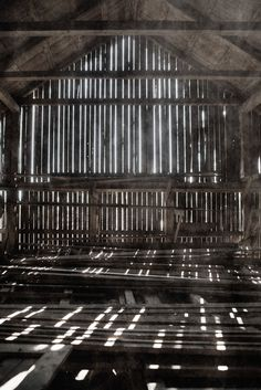 old barn flooded with light