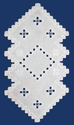 See the pretty Hardanger White Buttonhole Doily Kit at Nordic Needle