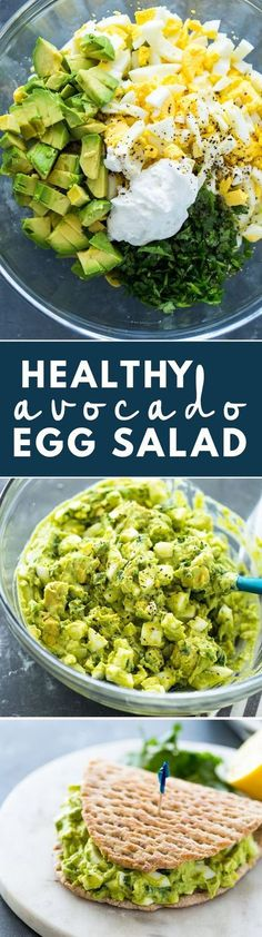 Low Carb Meals Ok so not quite vegan but love egg salad and avocados. mmmmm Creamy Avocado Egg Salad (Healthy, Low-carb, Keto) - Spice up the usual egg salad with the addition of avocado. Low Carb Recipes, Diet Recipes, Vegetarian Recipes, Cooking Recipes, Healthy Recipes, Recipies, Recipes Dinner, Chicken Recipes, Cheese Recipes