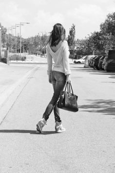 casual spring outfit. Lemon mood. Blue Jeans. Black and white