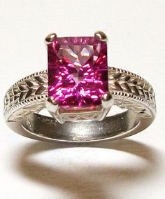Ring Pink Topaz Engraved Shank in Solid by Michaelangelas Solitare Ring, Pink Topaz, One Fine Day, Pink Ring, Shank, Free Gifts, Hot Pink, Fashion Accessories, Wedding Rings