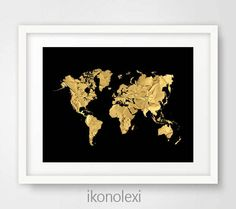 Silver world map wall art print silver world map poster travel chic gold world map black world map world map poster gold map world gumiabroncs Image collections
