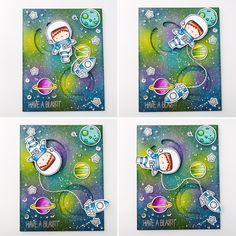 Interactive Card- MFT Space Explorer and the Circle Spinner Channel Dienamics. I applied Distress Inks on Bristol paper to create my bright galaxy sky. Splattered white dots using copic opaque white paint. Images w copics and added silver stickles to the stars for shine.