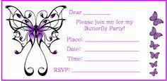 tout le nécessaire pour une fête sur le thème des papillons... à commencer par l'invitation...