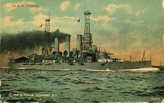 Postcard Navy Battleship U.S.S. Virginia - used in 1912