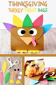 Treat your guests to a cute take home favor with this Thanksgiving Turkey Treat Bag craft! These are fun for both kids and adults to make and are perfect DIY gifts for Thanksgiving.
