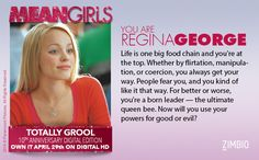I took the 'Mean Girls' Totally Grool 10th Anniversary quiz & I'm Regina George! Who are you? #MeanGirlsnull - Quiz