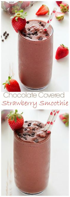 Thick and Creamy Chocolate Covered Strawberry Smoothie - this tastes incredible and is so healthy! Ready in just minutes.