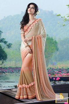 Fashion Designer Embroidery Saree in Cream Color #PartyWearSaree #Sareeforfunctionandoccasion #IndianPartyWearDesignerSaree #Latest2016PartyWearSareecollection  More: http://www.pavitraa.in/catalogs/impressive-heavy-sarees-for-party/?utm_source=hp&utm_medium=pinterestpost&utm_campaign=30july