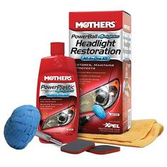 Mothers PowerBall 4Lights Headlight Restoration Kit Removes yellowing and stains. Include polishing tool, 8 ounce polish, 2 restoration pads and a 15 inch x 15 inch microfiber towel.  #Mothers #Automotive_Parts_and_Accessories