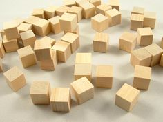50 Wood Blocks Square  1/2 inch Unfinished Wooden by DCWoodcrafts, $5.00