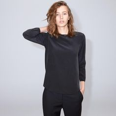FWSS Genesis is a minimalistic top in thin delicate silk with slits in the side seams and buttons at the centre back. Fall Winter Spring Summer, Centre, Delicate, Turtle Neck, Buttons, Silk, Elegant, Sweaters, Pullover