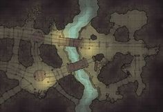 The Damp Mine, a battle map for D&D / Dungeons & Dragons, Pathfinder, Warhammer and other table top RPGs. Tags: battle map, bridge, cave, dungeon, mine, river, spooky, tunnel, underdark, underground: