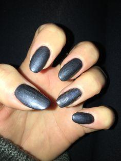 Gunmetal Grey Nails Silver Foil