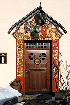 "Decorative Entrance Of The """"Pilgerstube"""",tasting Tavern For Spirits,liqueurs,Hans-Hertlein-Strasse Franconia. Grand Entrance, Entrance Doors, Doorway, Cool Doors, Unique Doors, Portal, Porches, When One Door Closes, Knobs And Knockers"