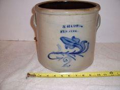 Antique Cobalt Blue Decorated Stoneware Crock Fulton NY Art Pottery Syracuse NoR