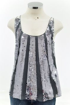 I need to get a top like this one!!  Juicy Couture Coal #14 Grey Sequin Sunburst Date Silk Top