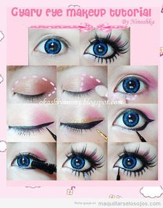 This guide shows how you can transform yourself into a cute gyaru. we are sharing with you some quick Gyaru makeup tutorials. Eyes being the noted part in Gyaru style; lots of attention is being paid to big eye circle lenses. Since Gyarus have deep Doll Eye Makeup, Lolita Makeup, Makeup Fx, Gyaru Makeup, Asian Makeup, Cute Makeup, Costume Makeup, Beauty Makeup, Korean Makeup