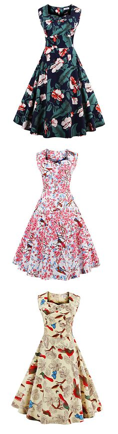 Adorable spring theme floral print vintage swing dress to win your man's heart all over again! Click on the picture to see all the prints. €15.67