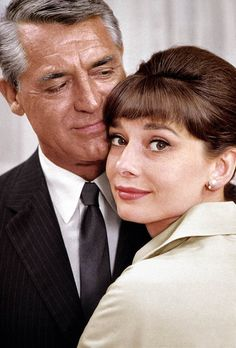 Audrey Hepburn and Cary Grant in a production still of Charade 1963. After working with Audrey on Charade, Cary Grant is quoted as saying, 'All I want for Christmas is another picture with Audrey Hepburn.'