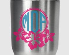 Check out Hibiscus monogram decal, for Yeti®, RTIC, Ozark Trail or other tumbler on PracticallyWhimsy