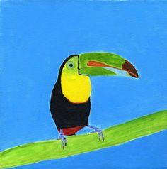 "Saatchi Online Artist: Lulu Joy; Acrylic Painting ""Toucan singing in the Rainforest"""